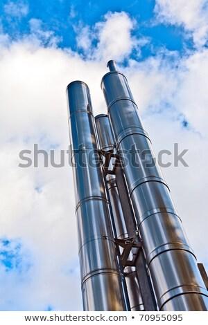 新しい 煙突 クロム 加熱 空 雲 ストックフォト © meinzahn