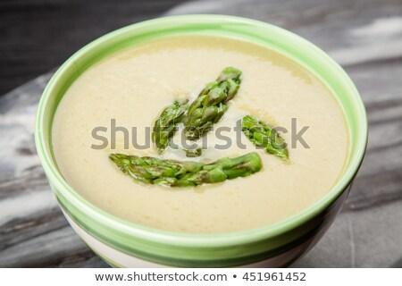 fresh asparagus soup with bread stock photo © raphotos