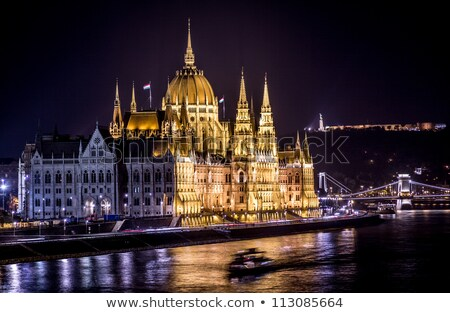 Hungarian Parliament Building as seen from Margit Hid at night  stock photo © Kayco