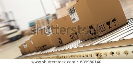 Foto stock: Goods On Conveyor Belt In Distribution Warehouse