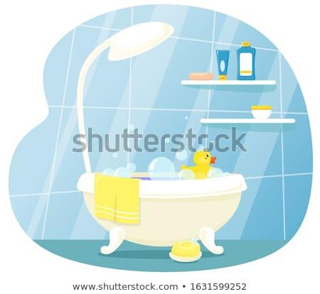 Kind kuip illustratie water glimlach leuk Stockfoto © adrenalina