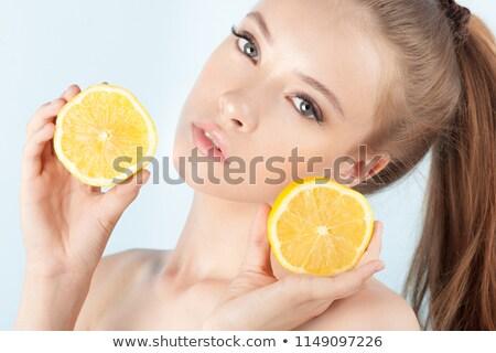 beautiful woman with lemon and yellow makeup   close up stock photo © geribody