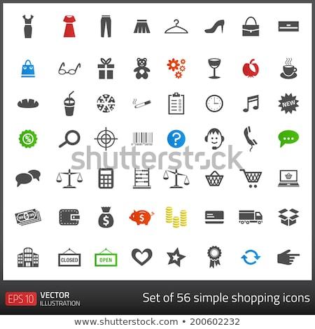 Foto stock: Conjunto · cinza · escuro · ícones · compras · branco · café