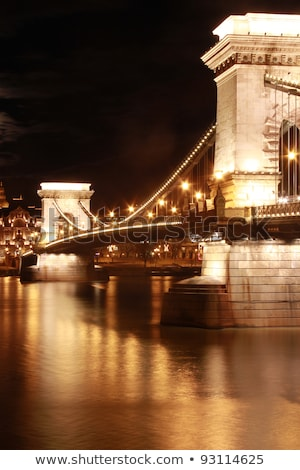 illuminated fisherman bastion and chain bridge budapest by night stock photo © goce