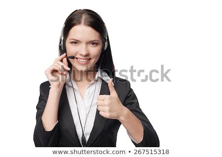 портрет · улыбаясь · молодые · бизнесмен · жест - Сток-фото © feelphotoart