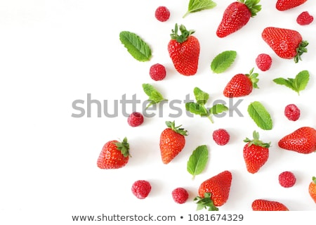 Flat raspberry and strawberry Stock photo © kali