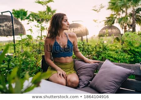Séduisant jeune femme patio détente séance Photo stock © dash