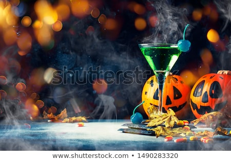 halloween · cocktail · martini · glas · hart · stro · cocktails - stockfoto © polygraphus