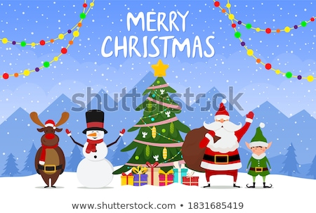 vector christmas background with santa stock photo © rioillustrator
