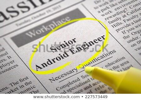 Idős android mérnök újság álláskeresés internet Stock fotó © tashatuvango