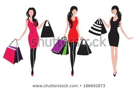 Silhouette of three shopping girls Stock photo © Vg