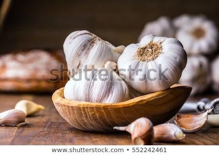 sarımsak · ampul · ahşap · plaka · arka · plan · pişirme - stok fotoğraf © grafvision