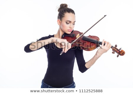 Young innocent musician with violin Stock photo © konradbak