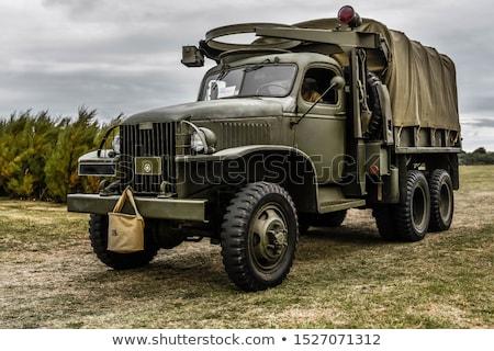Stockfoto: Vintage · militaire · voertuig · gestileerde · grunge · weg