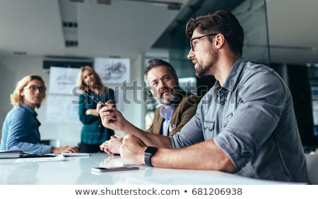 группа деловые люди говорить служба женщины заседание Сток-фото © deandrobot