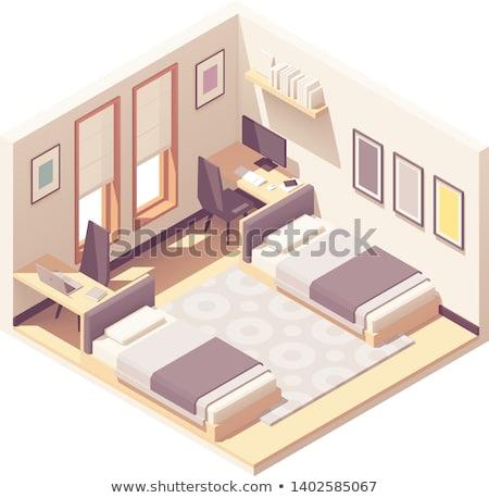3d Bedroom Youth Hostel Dorm Room Stok fotoğraf © tele52