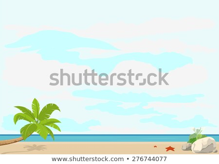 Summer vacation and travel. Palm tree and starfish on a sandy beach near the sea. Template booklet Foto stock © orensila