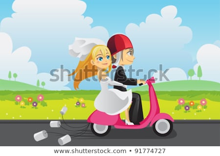 Newlywed Couple Enjoying Scooter Ride Stockfoto © Artisticco