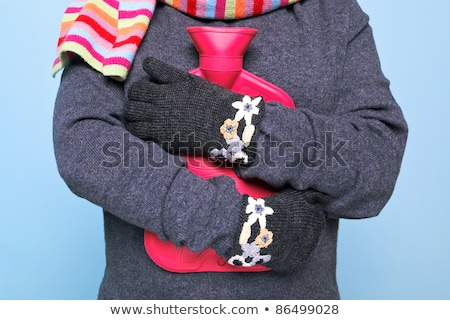 mulher · jovem · água · quente · garrafa · estômago · cama · saúde - foto stock © andreypopov
