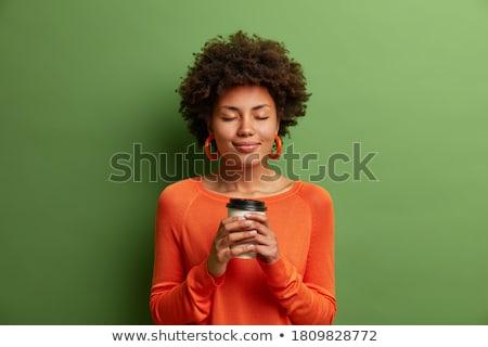 Eszpresszó barna hajú portré káprázatos fiatal nő Stock fotó © lithian