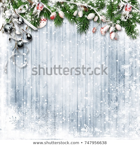 christmas background with firtree on wood with snow stock photo © valeriy