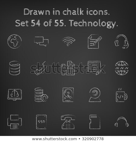 Foto stock: Solid State Drive Icon Drawn In Chalk