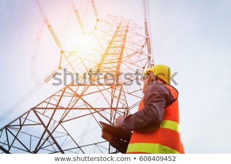 Elektriciteit macht kabel geïsoleerd witte industrie Stockfoto © nemalo