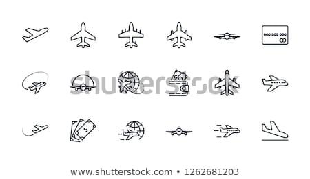 Leszállás repülőgép vonal ikon háló mobil Stock fotó © RAStudio