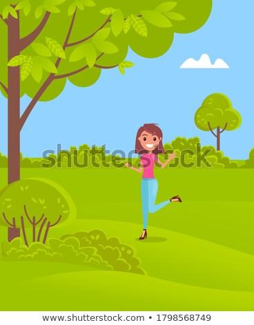 Kadın topuk şort poz doğa Stok fotoğraf © feedough