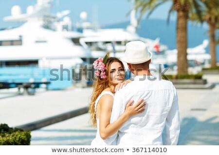 Vonzó fiatal pér sétál marina nyár hajók Stock fotó © vlad_star