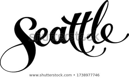 Seattle текста Cartoon название город Сток-фото © blamb
