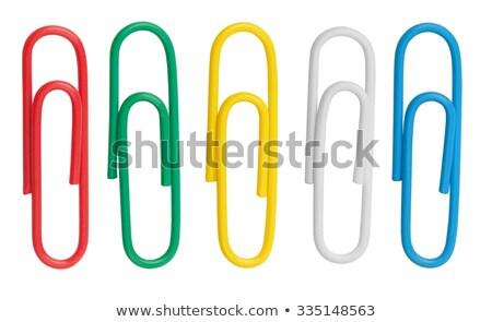 Blauw · paperclip · geïsoleerd · witte · school · ontwerp - stockfoto © tetkoren