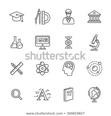 Graduation cap with at sign line icon. Stock photo © RAStudio