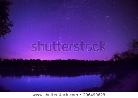 beautiful night sky with many stars on a lake stock photo © vapi