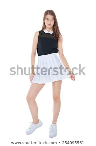 Blond meisje zwarte rok geïsoleerd witte Stockfoto © Elnur