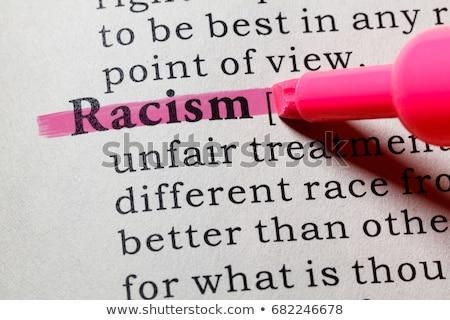 Stockfoto: Racisme · Rood · fiche · hand · schrijven · transparant