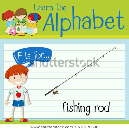Flashcard letter F is for fishing rod Stock photo © bluering
