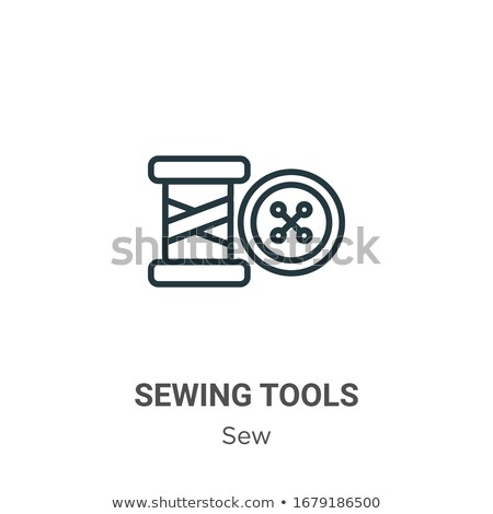 Stock fotó: Sewing Tools Flat Outline Vector Icons