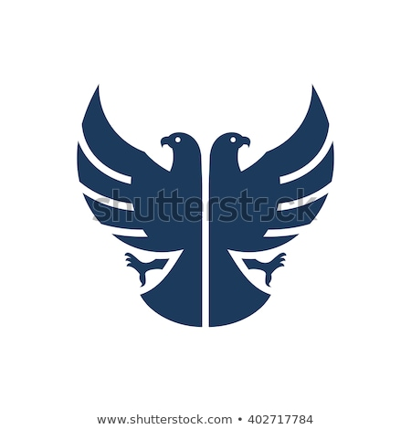 Double headed eagle silhouette with crown Stock photo © sifis
