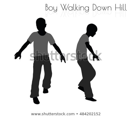 boy in Everyday Walking  Down Hill pose on white background Stock photo © Istanbul2009