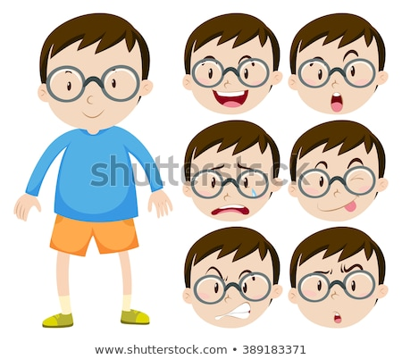 Little boy with glasses and many facial expressions Stock photo © bluering
