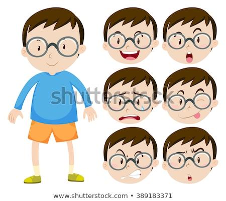 Peu garçon verres beaucoup expressions faciales illustration Photo stock © bluering