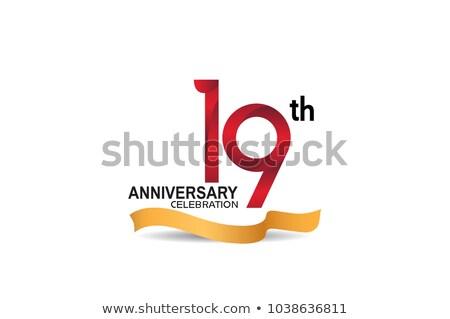 19th anniversary celebration badge label in golden color Stock photo © SArts