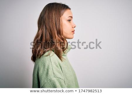 深刻 · 女性 · セーター · 見える · カメラ - ストックフォト © deandrobot