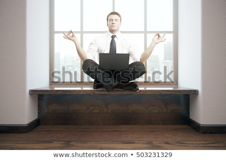 Stockfoto: Vreedzaam · zakenman · mediteren · lotus · pose · afrikaanse
