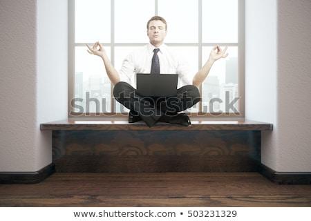 man · mediteren · lotus · pose · strand · vector - stockfoto © rastudio