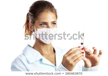 Medische verpleegkundige gezicht masker laboratoriumjas Stockfoto © deandrobot