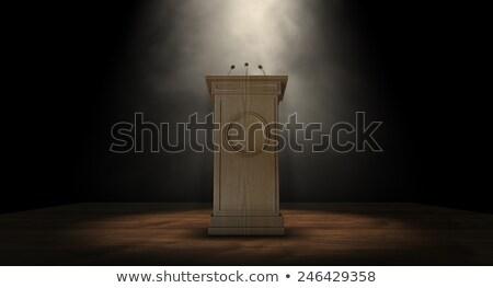 Zdjęcia stock: Naciśnij · podium · mowy · trzy · mały