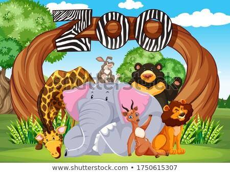 Zoo entrance with many wild animals Stock photo © bluering