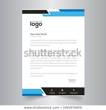 Eleganten blau Briefkopf Design-Vorlage wellig Form Stock foto © SArts